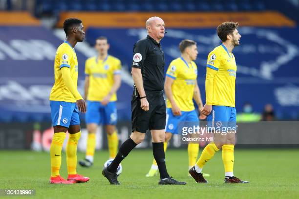 Referee, Lee Mason looks on during the Premier League match between West Bromwich Albion and Brighton & Hove Albion at The Hawthorns on February 27,...