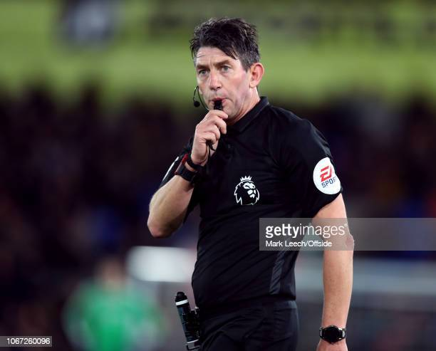 referee Lee Probert blowing his whistle during the Premier League match between Crystal Palace and Burnley FC at Selhurst Park on December 1 2018 in...