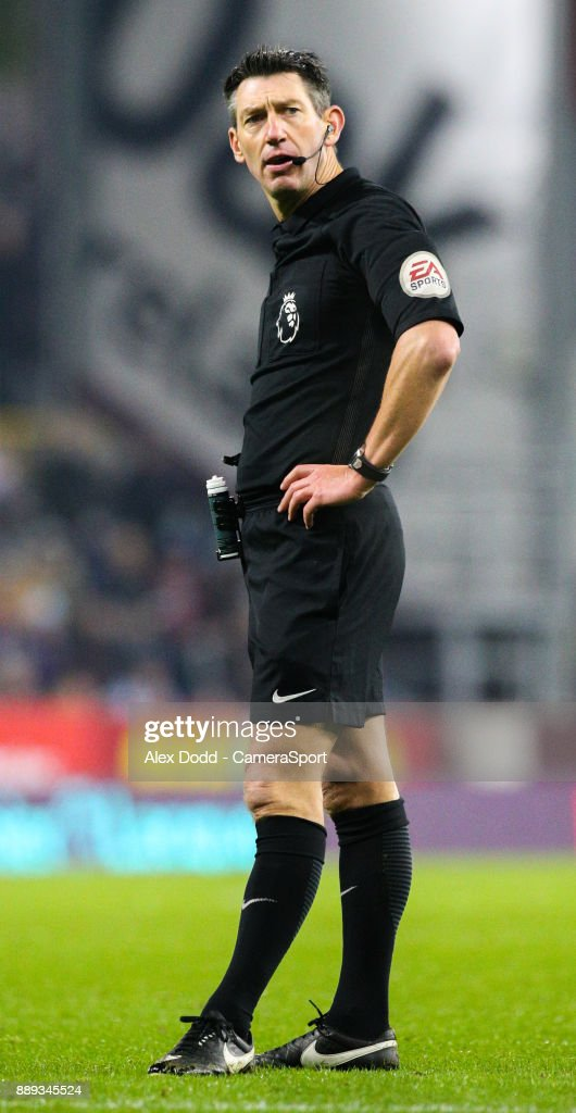 Referee Lee Probert during the Premier League match between Burnley and Watford at Turf Moor on December 9, 2017 in Burnley, England.