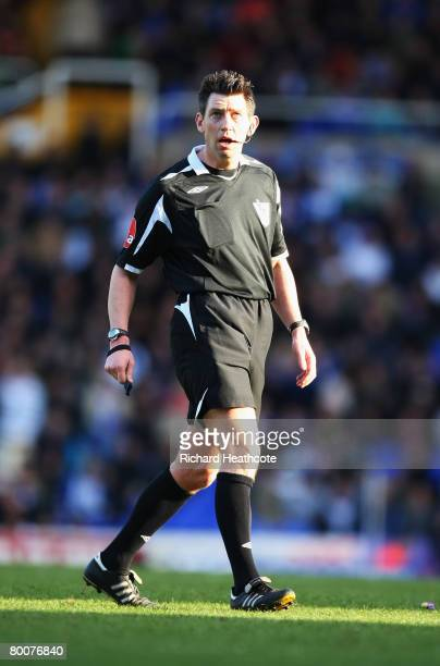 Referee Lee Probert in action during the Barclays Premier League match between Birmingham City and Tottenham Hotspur at St Andrews on March 1 2008 in...