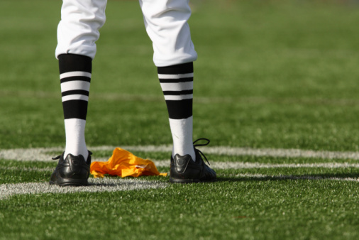 Referee Legs and Flag 92187790