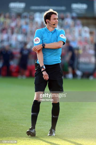 Referee Leigh Doughty in action during the Sky Bet League Two Play Off Semifinal 2nd Leg match between Cheltenham Town and Northampton Town at Jonny...