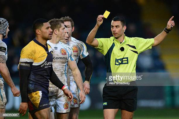 Referee Leighton Hodges shows Jeremy Su'a of Worcester Warriors a yellow card during the LV= Cup match between Worcester Warriors and Exeter Chiefs...