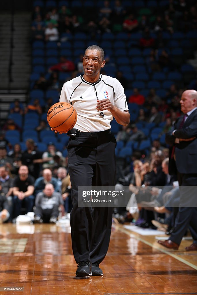 Referee, Leon Wood officiates the Charlotte Hornets NBA preseason game against the Minnesota Timberwolves on October 21, 2016 at the Target Center in Minneapolis, Minnesota.