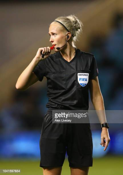 Referee Lina Lehtovaara during the UEFA Women's Champions League Round of 32 2nd Leg match between Manchester City Women and Atletico Madrid Women at...