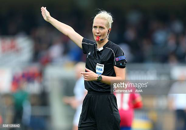 Referee Lina Lehtovaara during the UEFA Women's European Championship Qualifier match between England and Serbia at Adams Park on June 4 2016 in High...
