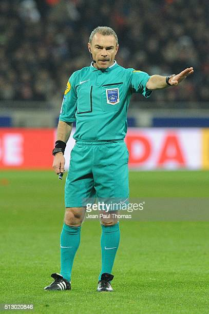Referee Lionel JAFFREDO during the French Ligue 1 match between Olympique Lyonnais v Paris SaintGermain at Stade des Lumieres on February 28 2016 in...