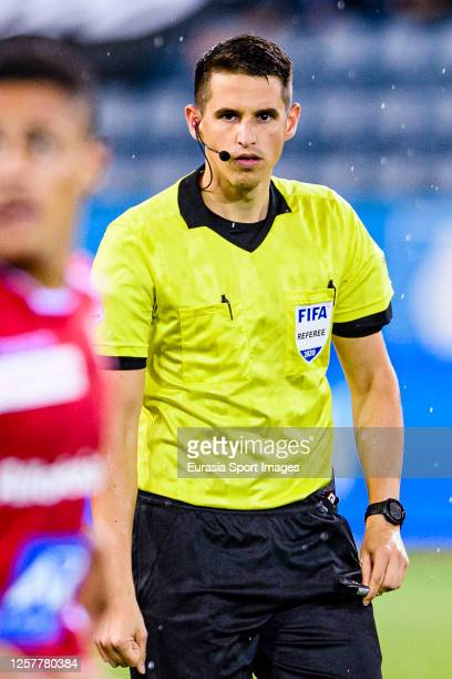 Referee Lionel Tschudi gestures during the Swiss Raiffeisen Super League match between FC Luzern and FC Sion at Swissporarena on July 22 2020 in...