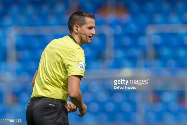 Referee Lionel Tschudi Looks on during the Swiss Raiffeisen Super League match between FC Basel and FC Lugano at St. Jakob-Park on July 26, 2020 in...