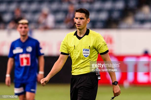 Referee Lionel Tschudi walks in the field during the Swiss Raiffeisen Super League match between FC Luzern and FC Sion at Swissporarena on July 22...