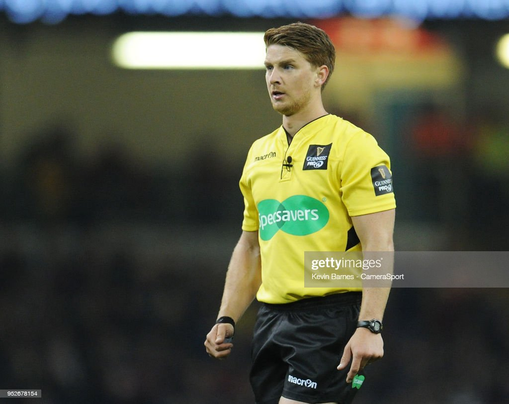 Referee Lloyd Linton during the Guinness PRO14 Round 21 Judgement Day VI match between Cardiff Blues and Ospreys at Principality Stadium at Principality Stadium on April 28, 2018 in Cardiff, Wales.