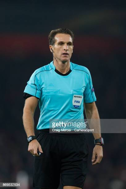 Referee Luca Banti during the UEFA Europa League group H match between Arsenal FC and Crvena Zvezda at Emirates Stadium on November 2 2017 in London...