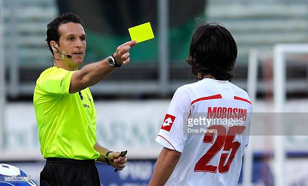 Referee Luca Banti issues a yellow card to Piermario Morosini of Padova during the Serie B match between Calcio Padova and US Sassuolo Calcio at...