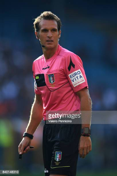 Referee Luca Banti looks on during the Serie A match between Genoa CFC and Juventus at Stadio Luigi Ferraris on August 26 2017 in Genoa Italy