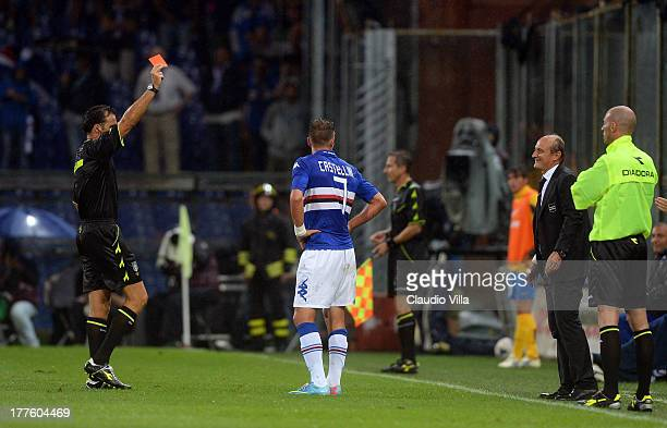 Referee Luca Banti shows the red card to Paolo Castellini of UC Sampdoria during the Serie A match between UC Sampdoria and Juventus at Stadio Luigi...