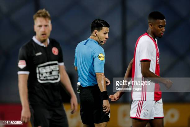 Referee Luca Cantineau during the Dutch Keuken Kampioen Divisie match between Ajax U23 v Almere City at the De Toekomst on August 30, 2019 in...