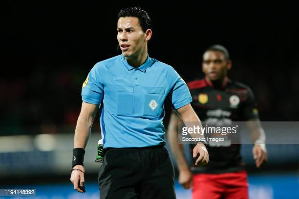 Referee Luca Cantineau, Kyle Ebecilio of Excelsior Rotterdam during the Dutch Keuken Kampioen Divisie match between Excelsior v Telstar at the Van...