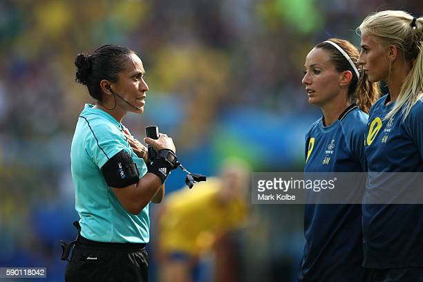 Referee Lucila Venegas of Mexico in action during the Women's Football Semi Final between Brazil and Sweden on Day 11 of the Rio 2016 Olympic Games...