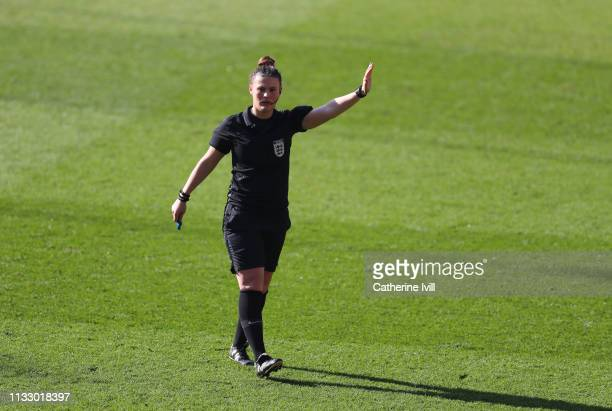 Referee Lucy Oliver during the FA Women's Continental League Cup Final between Arsenal Women and Manchester City Women at Bramall Lane on February 23...