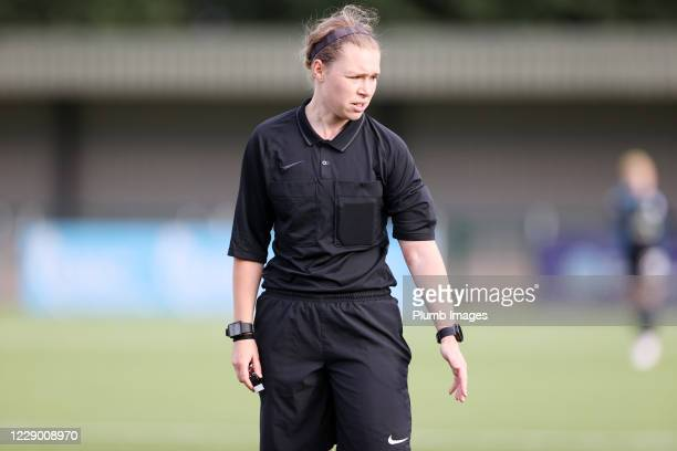 Referee Lucy-Anne Briggs during the FA Women's Championship match between Leicester City and Liverpool at Farley Way Stadium on October 11, 2020 in...