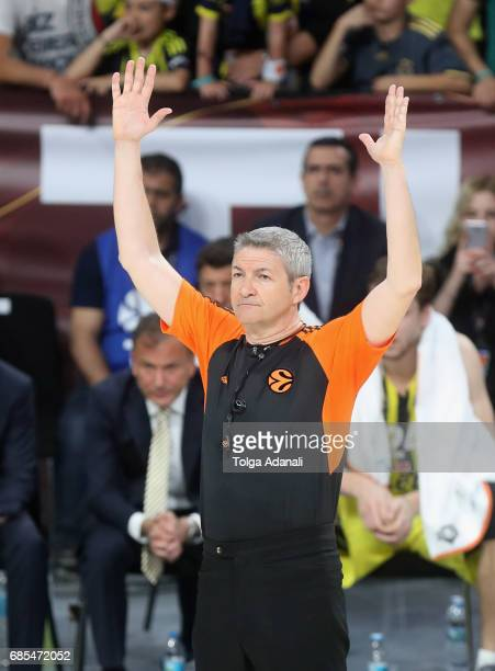 Referee Luigi Lamonica during the Turkish Airlines EuroLeague Final Four Semifinal A game between Fenerbahce Istanbul v Real Madrid at Sinan Erdem...