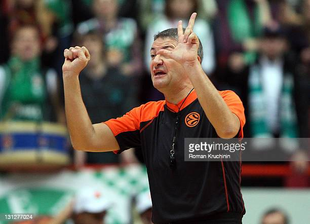Referee Luigi Lamonica signals during the 20112012 Turkish Airlines Euroleague Regular Season Game Day 2 between Unics Kazan v FC Barcelona Regal at...