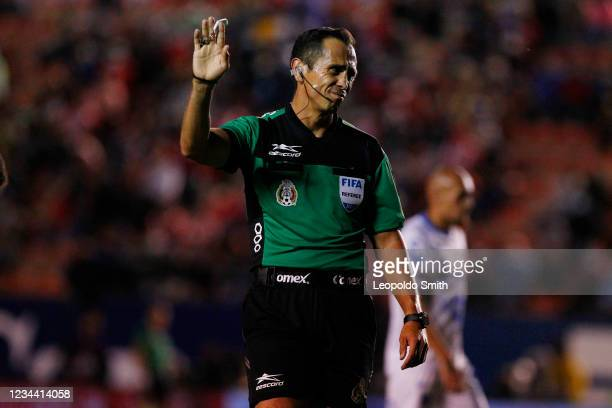 Referee Luis Enrique Santander reacts during the second round match between Atletico San Luis and Queretaro in the Torneo Grita Mexico A21 Liga MX at...
