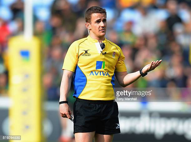 Referee Luke Pearce during the Aviva Premiership match between Wasps and Northampton Saints at The Ricoh Arena on April 3 2016 in Coventry England