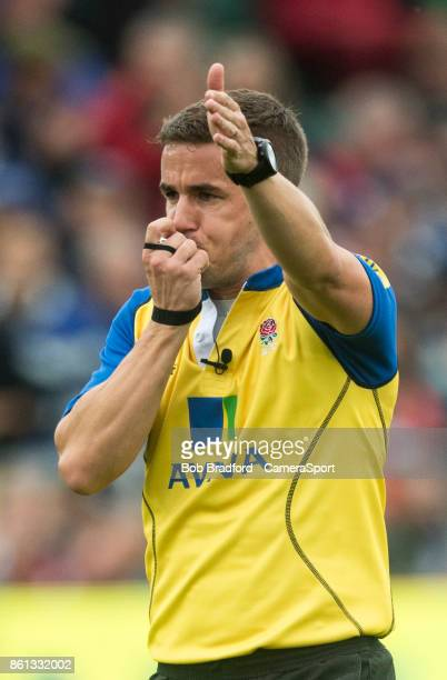 Referee Luke Pearce during the European Rugby Champions Cup match between Bath Rugby and Benetton Rugby at Recreation Ground on October 14 2017 in...