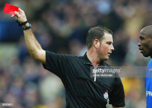 Referee M Clattenburg sends of Drissa Diallo of Ipswich during the Nationwide Division One match between Norwich City and Ipswich Town at Carrow Road...