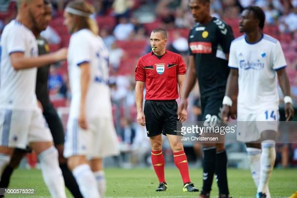 Referee MadsKristoffer Kristoffersen looks on during the Danish Superliga match between FC Copenhagen and AC Horsens at Telia Parken Stadium on July...