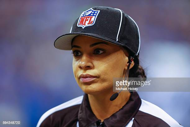 NFL referee Maia Chaka is seen before the Indianapolis Colts verses the Baltimore Ravens game at Lucas Oil Stadium on August 20 2016 in Indianapolis...