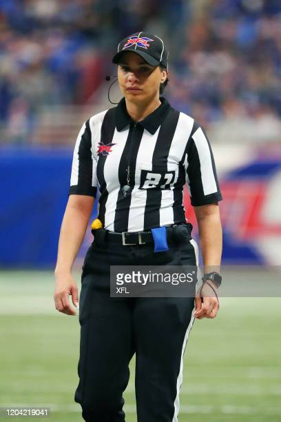 XFL referee Maia Chaka looks on during the XFL game between the Seattle Dragons and the St Louis BattleHawks at The Dome at America's Center on...