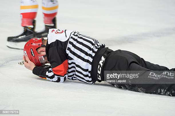 Referee Maksim Cepik during the DEL game between the Eisbaeren Berlin and Duesseldorfer EG on January 22 2016 in Berlin Germany