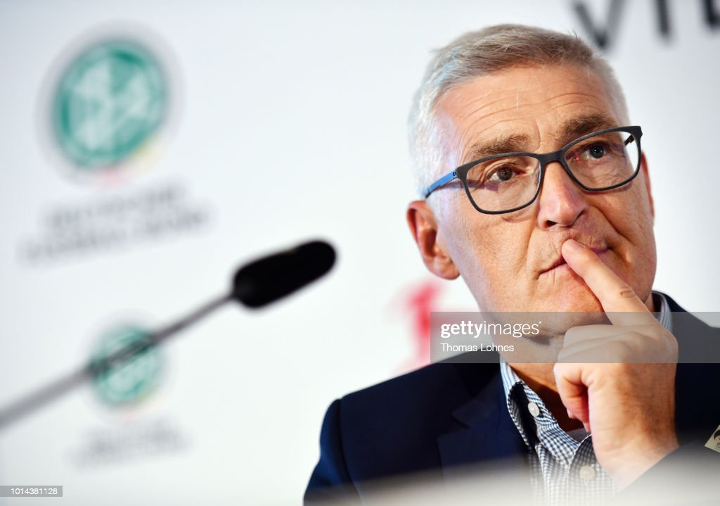 DFB referee manager Lutz Michael Froehlich speaks to the media during a press conference of Deutscher Fussball-Bund (DFB) on August 10, 2018 in Frankfurt am Main, Germany.