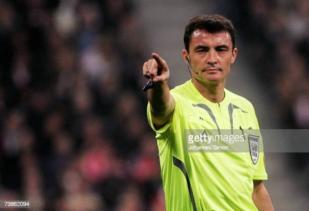 Referee Manuel Enrique Mejuto Gonzalez reacts during the UEFA Champions League Quarter Final second leg match between FC Bayern Munich and AC Milan...