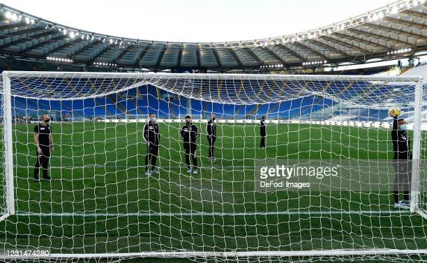Referee Marco Piccinini gestures prior to the Serie A match between SS Lazio and Torino FC at Stadio Olimpico on March 2, 2021 in Rome, Italy. FC...