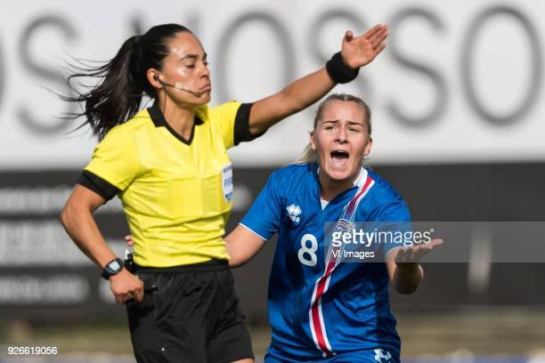 referee Maria Carvajal Andrea Mist Pálsdóttir of Iceland women during the Algarve Cup 2018 match between Japan and Iceland at the Estadio Municipal...