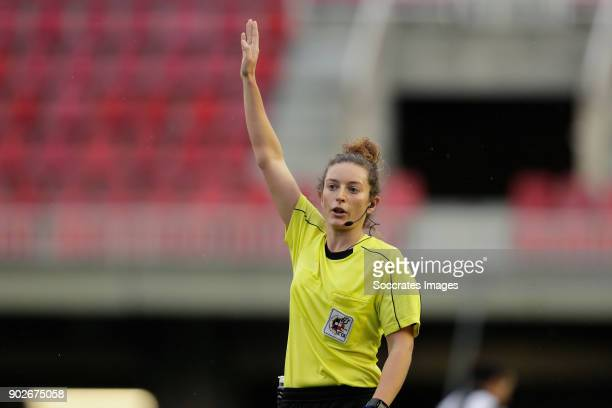 Referee Maria Jose Villegas during the Iberdrola Women's First Division match between FC Barcelona v Levante at the Ciutat Esportiva Joan Gamper on...