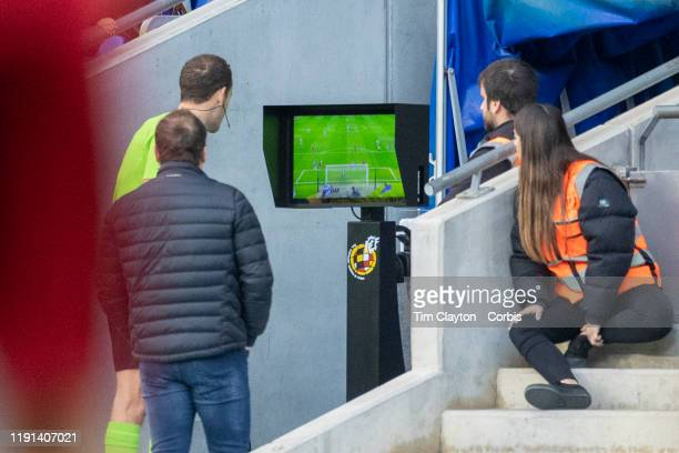 Referee Mario Melero Lopez reviews the video replay VAR before awarding a penalty to Espanyol during the Espanyol V Osasuna La Liga regular season...