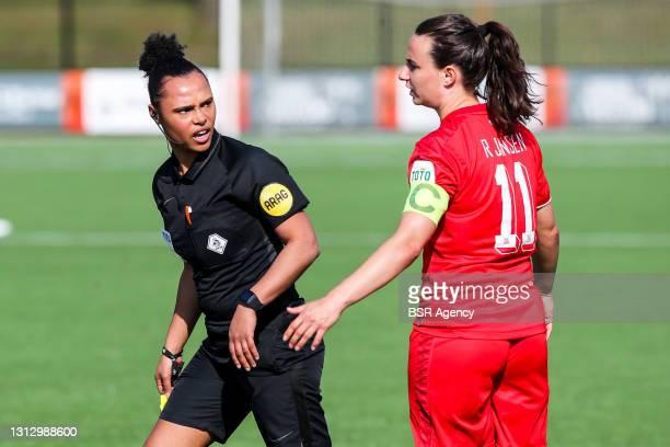 Referee Marisca Overtoom, Renate Jansen of FC Twente during the KNVB beker match between FC Twente and ADO Den Haag at Sportcampus Diekman on April...
