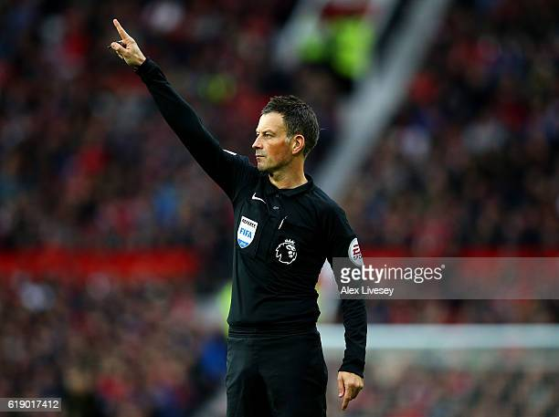 Referee Mark Clattenburg during the Premier League match between Manchester United and Burnley at Old Trafford on October 29 2016 in Manchester...