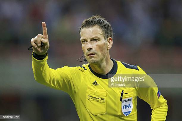 referee Mark Clattenburg during the UEFA Champions League final match between Real Madrid and Atletico Madrid on May 28 2016 at the Giuseppe Meazza...