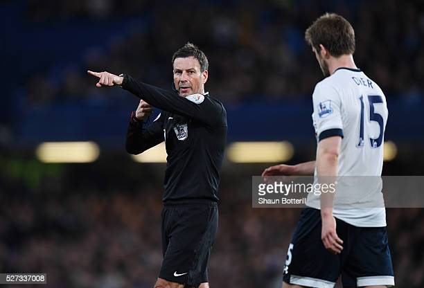 Referee Mark Clattenburg gives a decision during the Barclays Premier League match between Chelsea and Tottenham Hotspur at Stamford Bridge on May 02...
