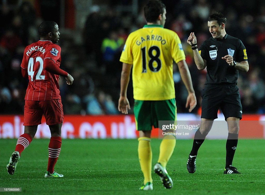 Referee Mark Clattenburg sugguests towards Jason Puncheon of Southampton during the Barclays Premier League match between Southampton and Norwich City at St Mary's Stadium on November 28, 2012 in Southampton, England.