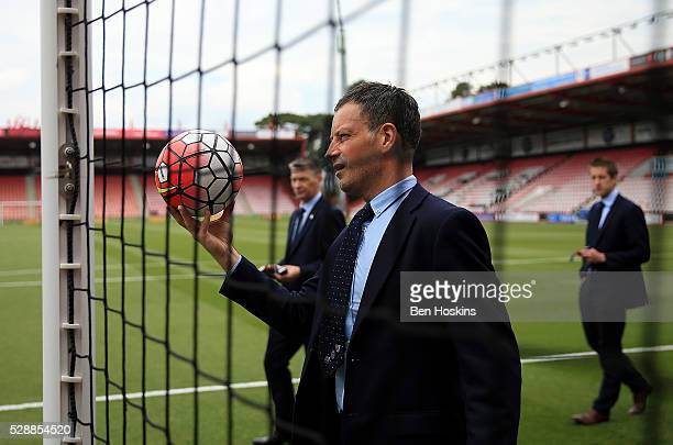 Referee Mark Clattenburg tests the Hawk Eye system ahead of the Barclays Premier League match between AFC Bournemouth and West Bromwich Albion at the...