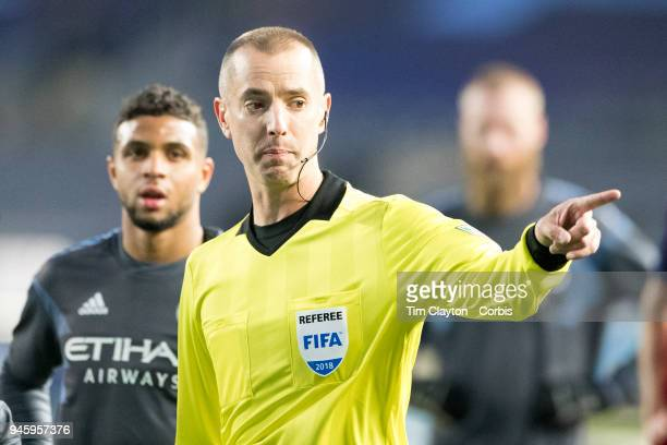 Referee Mark Geiger after awarding a penalty after a foul on Maximiliano Moralez of New York City during the New York City FC Vs Real Salt Lake...