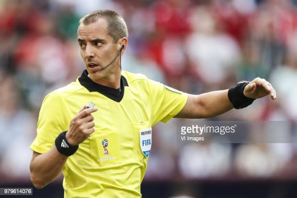 referee Mark Geiger during the 2018 FIFA World Cup Russia group B match between Portugal and Morocco at the Luzhniki Stadium on June 20 2018 in...