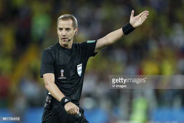 referee Mark Geiger during the 2018 FIFA World Cup Russia round of 16 match between Columbia and England at the Spartak stadium on July 03 2018 in...