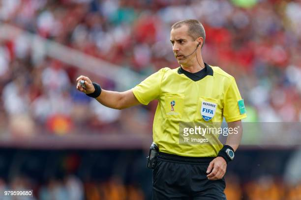 Referee Mark Geiger gestures during the 2018 FIFA World Cup Russia group B match between Portugal and Morocco at Luzhniki Stadium on June 20 2018 in...